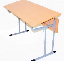Стол ученический 2-х местный с регулировкой высоты и угла наклона столешницы 0-10 градусов (2-4, 3-5, 4-6)